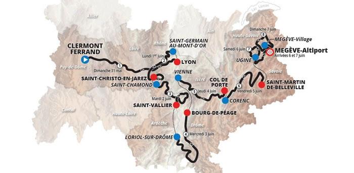 Critérium du Dauphiné 2020 Une arrivée et un départ dans la Loire
