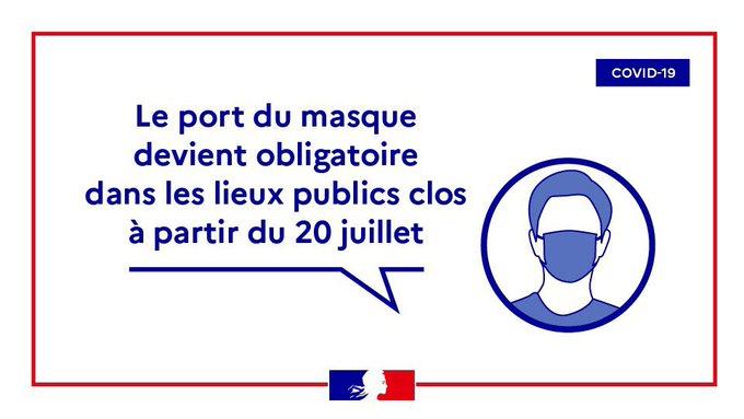 Le Port du masque obligatoire : amende de 135 euros en cas d'infraction